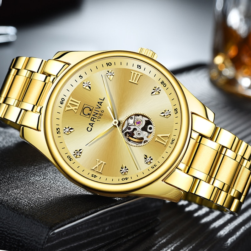 CARNIVAL New Fashion Business Men's Watch Gold Diamond Dial Stainless Steel Strap Automatic Mechanical Watches Reloj Hombre 8790 enlarge