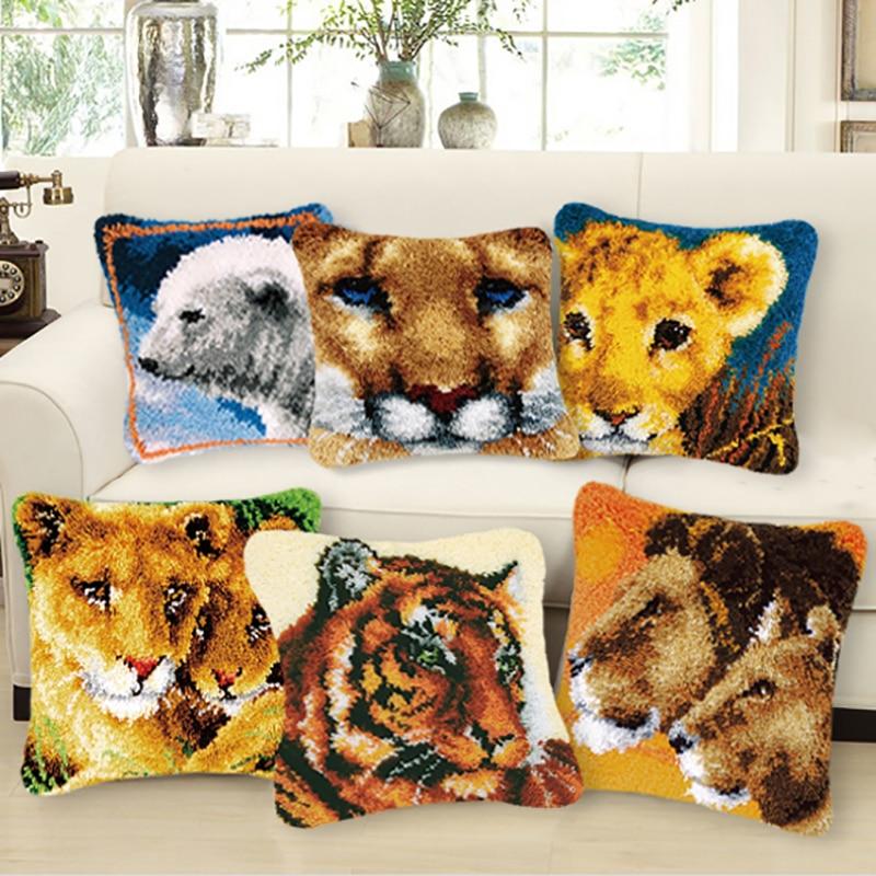 DIY alfombras bordadas a mano animales pájaros Tigre hilo sin terminar almohada tapiz bordado Material garen om te haken