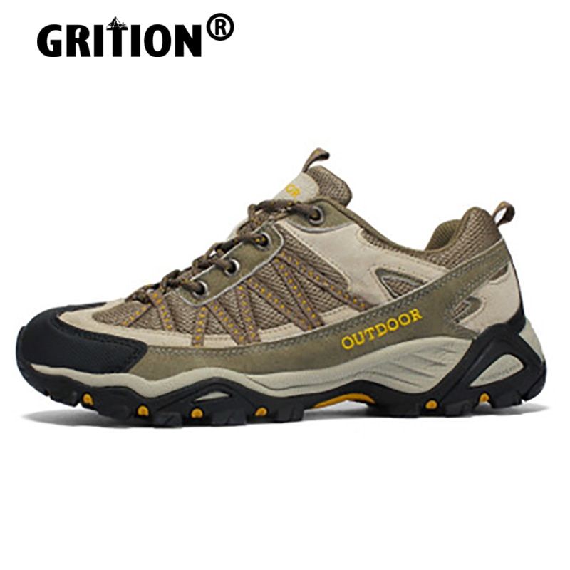 GRITION Mens Hiking Shoes Outdoor Winter Couple Sneakers Breathable Camping Sport Non-slip Leisure T