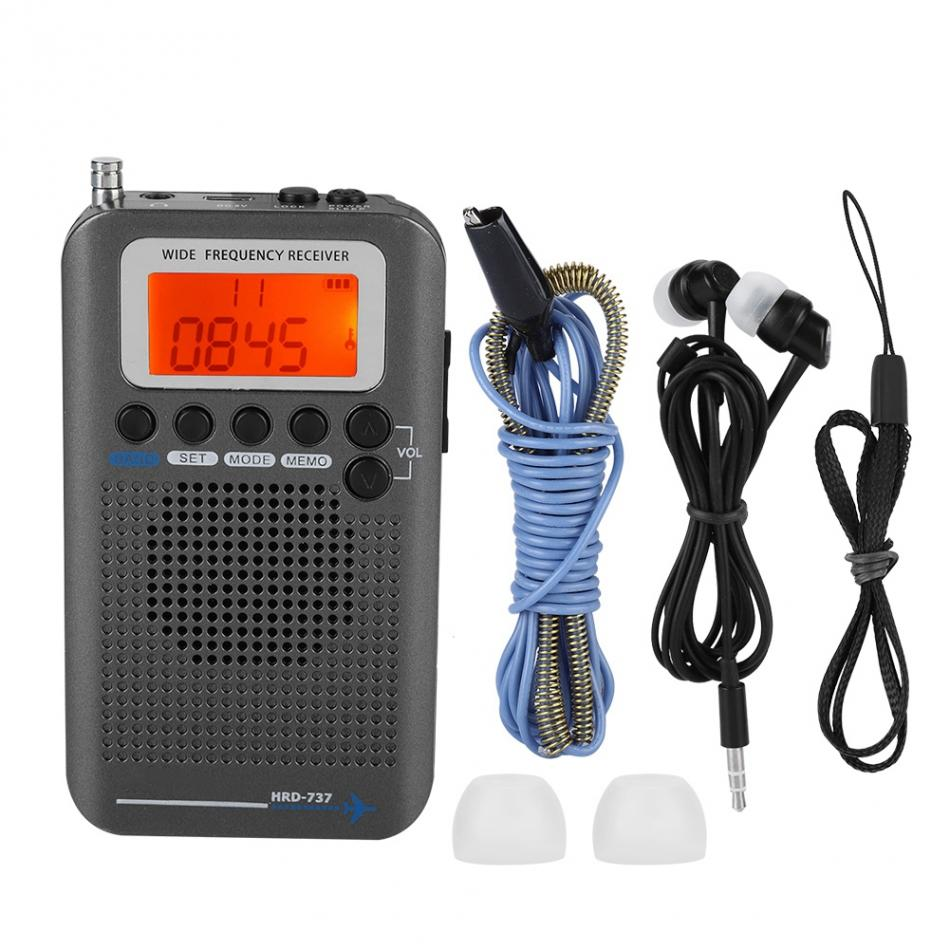Radio portátil VHF con banda completa 2020, Radio FM AM SW, Radio VHF CB 30-223MHZ, 25-28MHZ, Air 118-138MHZ con despertador Dual