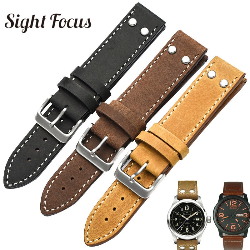 20MM,22MM Leather Watchband For Stowa Pilot Strap Flieger Classic Series Chrono/Sport/Verus Series R