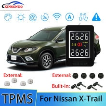 XINSCNUO Car Electronics Wireless For Nissan X-Trail TPMS Tire Pressure Monitoring System Sensor LCD