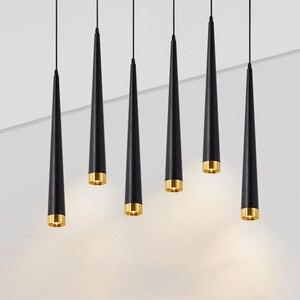 Thrisdar 40/50/60CM Cone LED Pendant Lights Kitchen Dining Room Long Tube Pendant Lamp Shop Bar Background Hanging Light