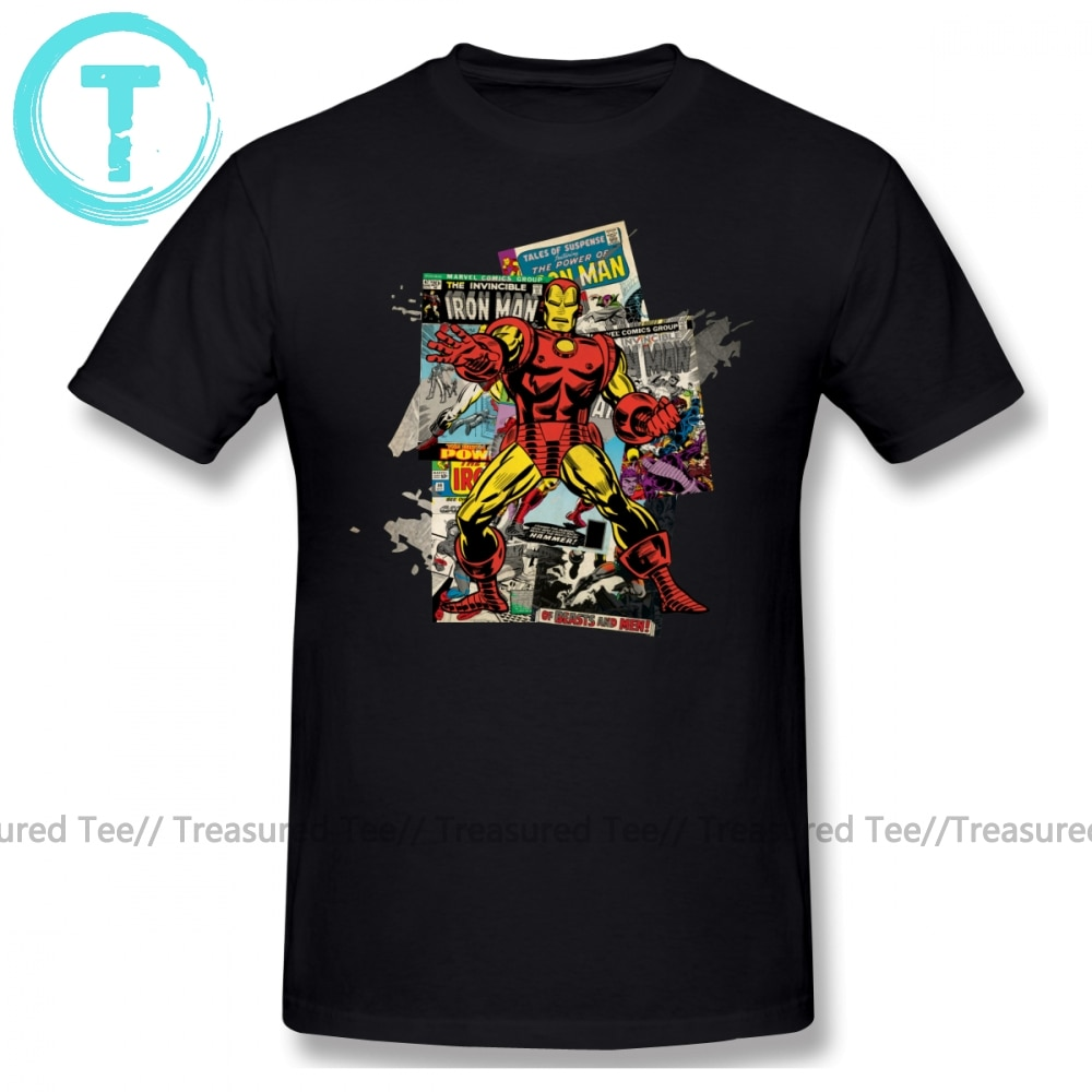 Iron Man T Shirt Iron Man Retro Comic Collage T-Shirt Cute Plus Size Tee Shirt Cotton Short Sleeves Beach Mens Printed Tshirt