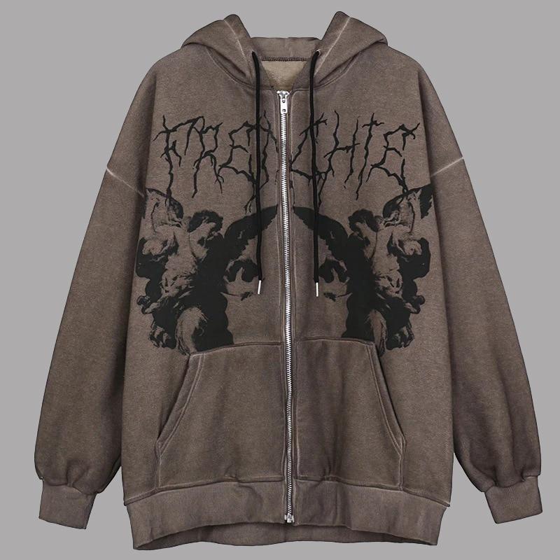 Women y2k Aesthetic Angel Printed Hoodies Sweatshirts Men Autumn Winter Vintage Hip-Hop Streetwear J