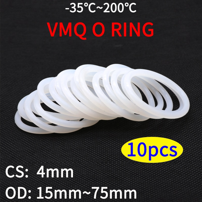 10pcs VMQ White Silicone O Ring Gasket CS 4mm OD 12 ~ 95mm Food Grade Rubber Insulate Round O Shape Seal  o-ring silicone rings недорого
