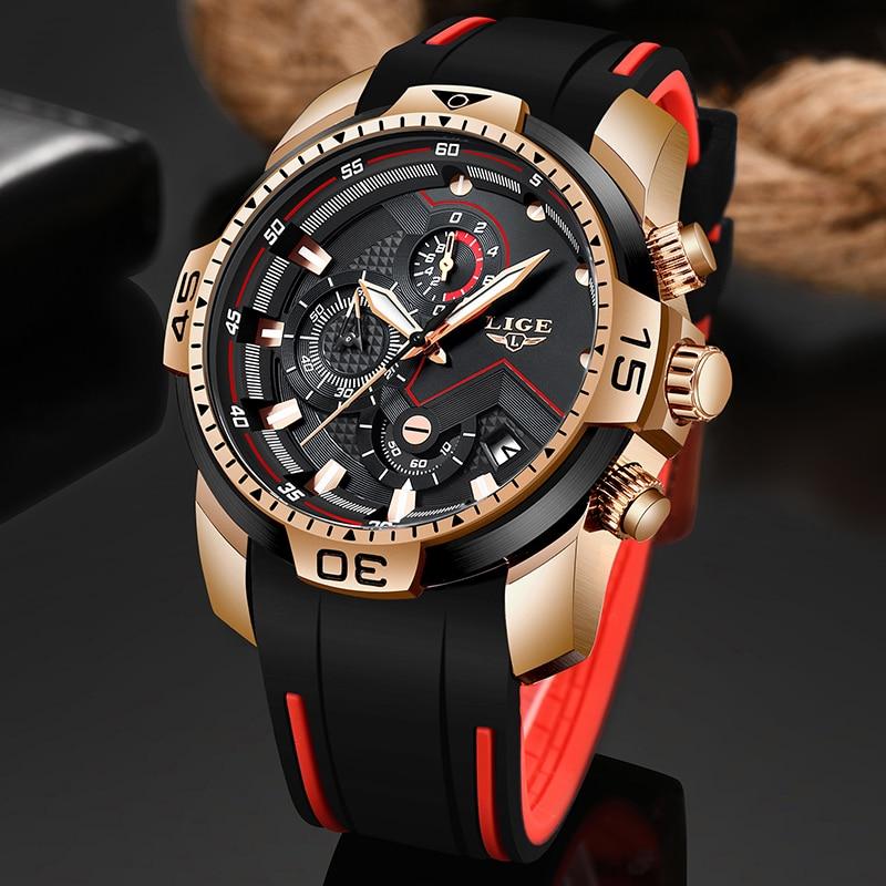 AliExpress - New Relogio Masculino 2021 LIGE Silicone Mens Watches Top Brand Luxury Man Military Quartz Clock Male Sport Waterproof Watch Men