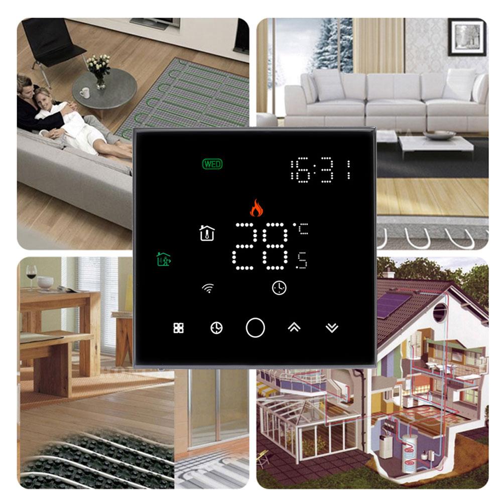 Tuya الحياة الذكية الطابق الاحترار غرفة واي فاي ترموستات للكهرباء الغاز جهاز استشعار مياه الغلاية التدفئة صوت متحكم في درجة الحرارة