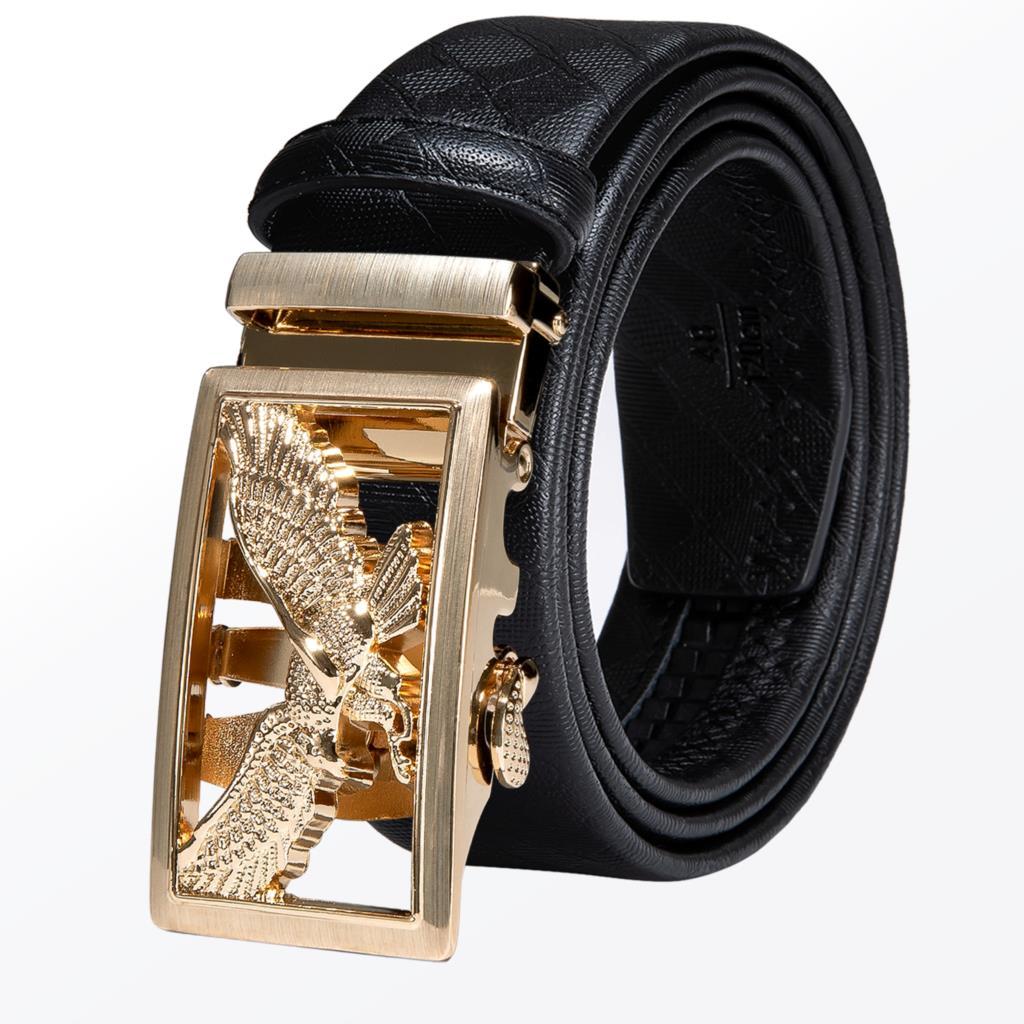 Gold Black Silver Automatic Buckles Mens Belts Black Leather Men Dress Jeans Belt Ratchet Sliding Waist Straps Wedding Business