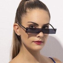 New Rectangle Sunglasses Women 2020 Luxury Brand One-Piece Ocean Rimless Sunglasses Flat Top Clear L