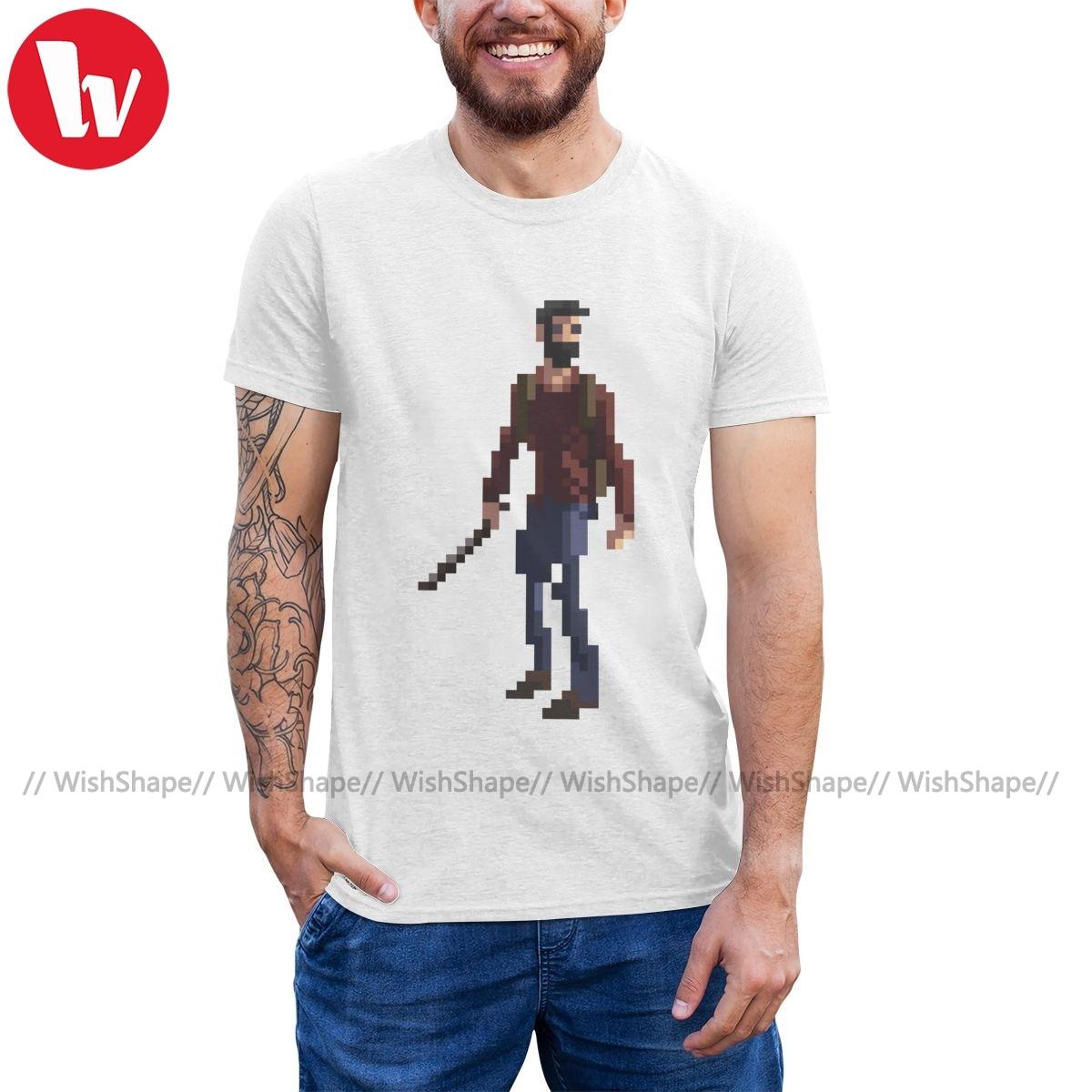 La última de nosotros, camiseta, la última de nosotros, camiseta con imagen de píxel, camiseta a la moda para hombre, camiseta bonita de algodón con gráfico