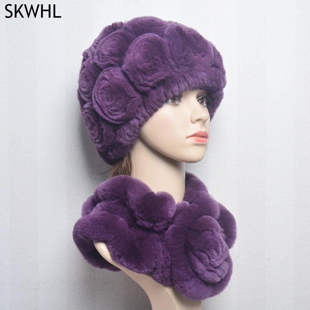 Women Knit Real Rex Rabbit Fur Hat Scarf Sets Natural Warm Scarves Winter Lady