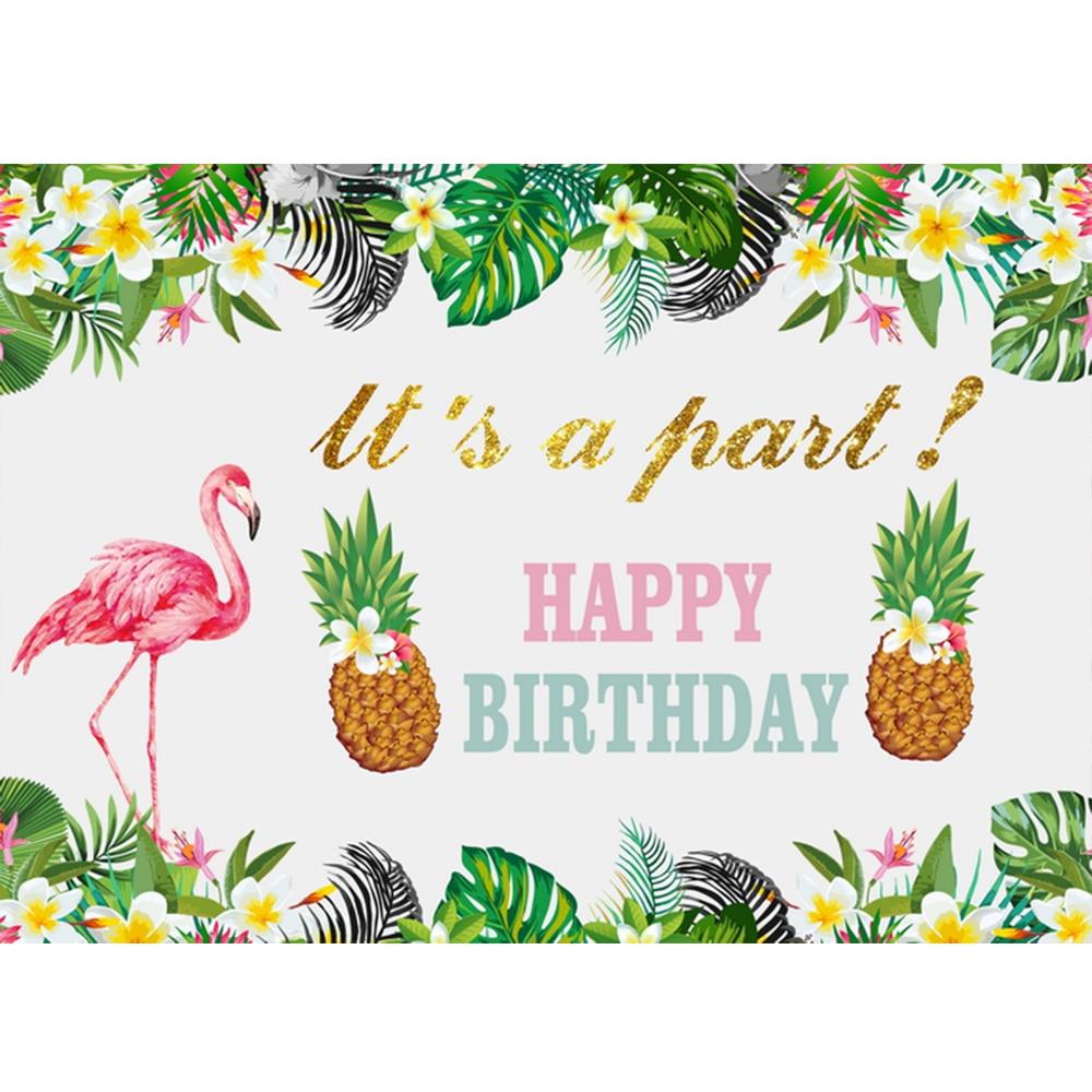 Fundo para o Bebê Backdrops para Fotografia Aniversário Fotophone Foto Tropical Flores Folhas Abacaxi Flamingo Criança