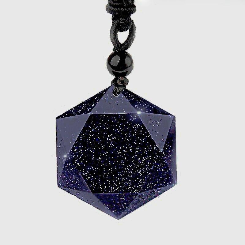Прямая доставка Синий Песок камень шесть-подвеска в виде звезды Подвеска из авантюрина натуральный обсидиан подвеска в виде звезды счастливые влюбленные для женщин и меня