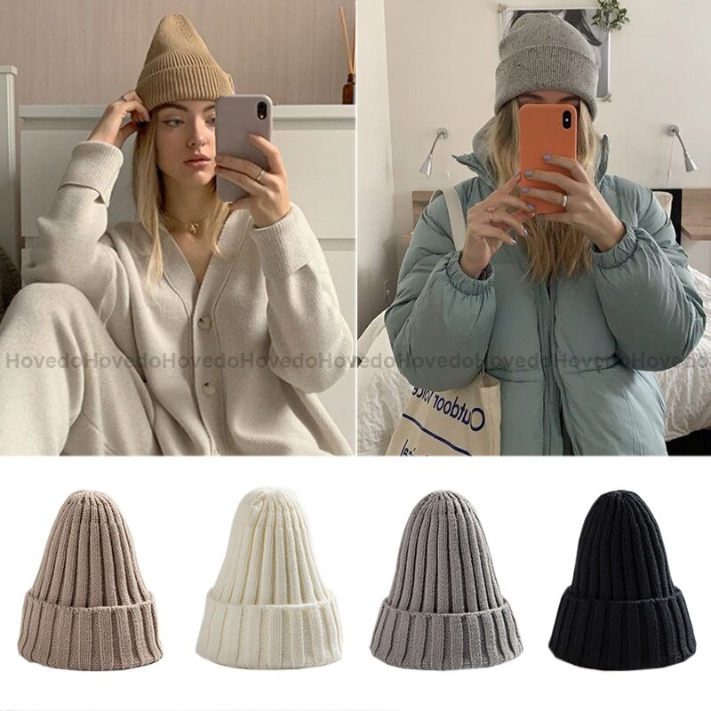 New Winter Hat for Women Knitted Warm Soft Trendy Winter Hats Women Wool Casual Cap Elegant All-matc