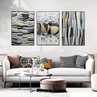 modern minimalist abstract grid geometric canvas painting light luxury porch poster black gold picture for living room wall art