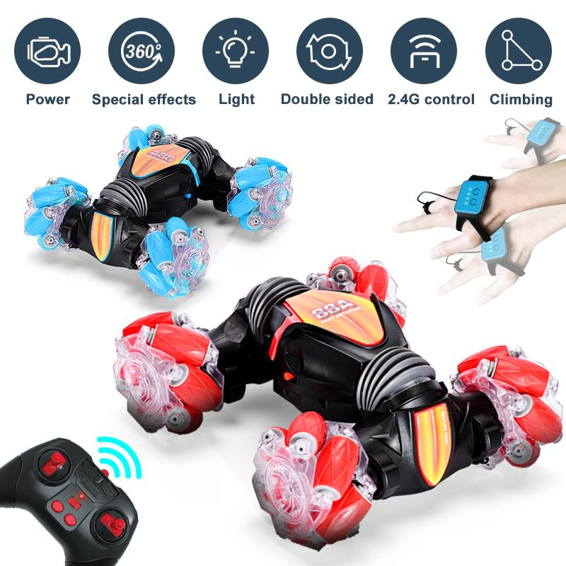 2.4G 4WD Gesture Induction Remote Control RC Stunt Car Roating Twisting Off-Road Vehicle Light Drift Climbing RC Toys for Kids