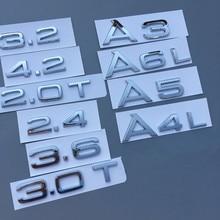 Krom ABS mektup Trunk rozeti logosu amblem araba sticker A1 A3 A4 A5 A6 A7 A8 A4L A6L A8L q3 Q5 Q7 1.8T 2.0T 2.4 2.8 3.0 4.2 TT
