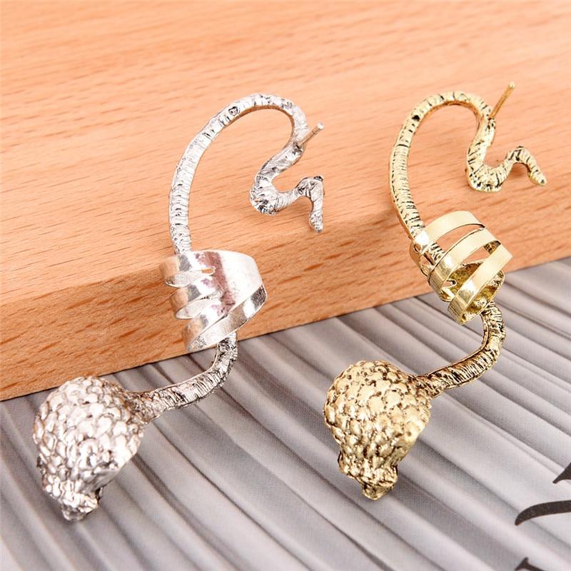 Oreja gancho Cobra forma estilo gótico Punk clip para hueso del oído las mujeres pendientes de joyería de moda de plata bronce colores
