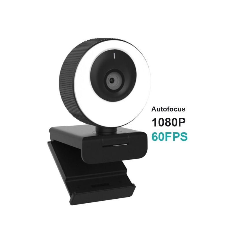 1080P كاميرا ويب 60FPS ضبط تلقائي للصورة HD كاميرا الويب عصر مع ميكروفون مصباح مصمم على شكل حلقة كاميرا الويب للكاميرا جهاز كمبيوتر شخصي لنشل سكايب...