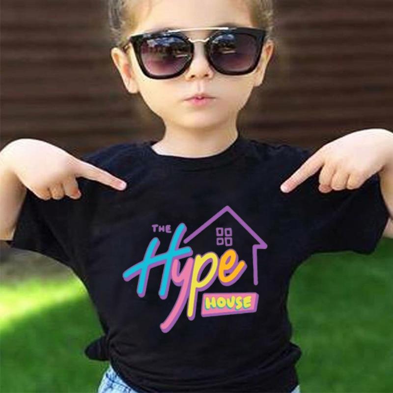 ¡Novedad de 2020! Camiseta The Hype House para niñas, camisetas estéticas de manga corta para verano, ropa coreana para bebés, camisetas divertidas blancas para niños