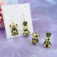 10pcs animals vintage golden tone metal charms 3d bear rabbit pendants dangle earring fit diy jewelry accessories lover gifts