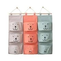 3 pockets cute wall hanging storage bag linen clothes organizer closet storage bag children room organizer pouch home