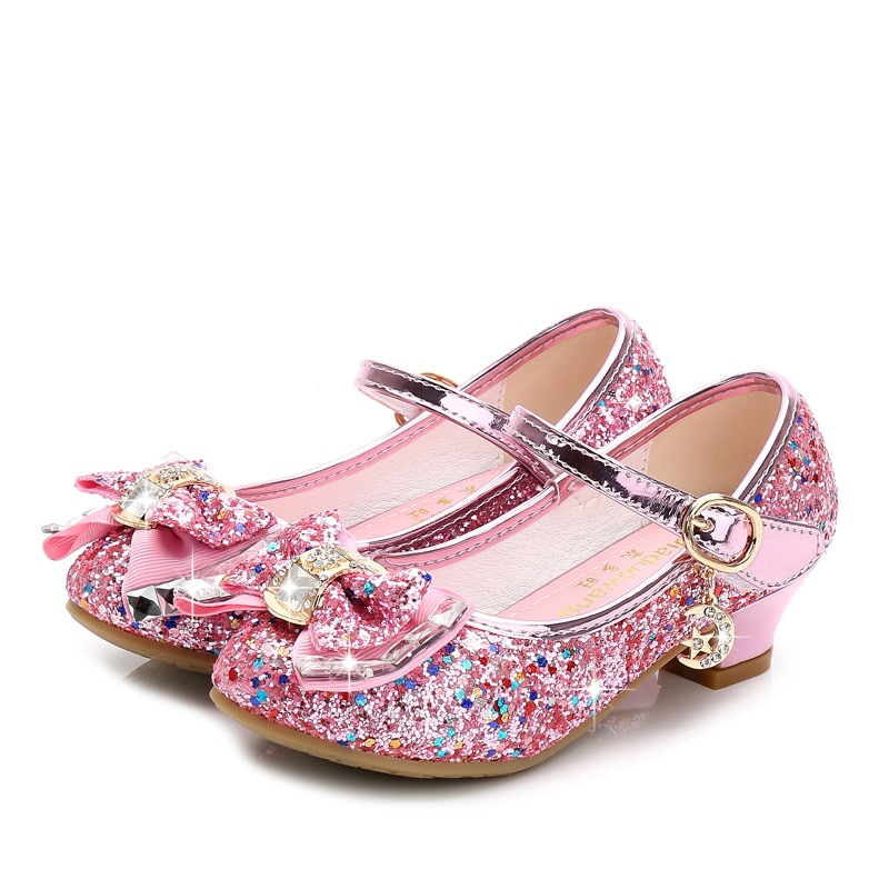 Princess Kids Leather Shoes for Girls Flower Casual Glitter Children High Heel Girls Shoes Butterfly