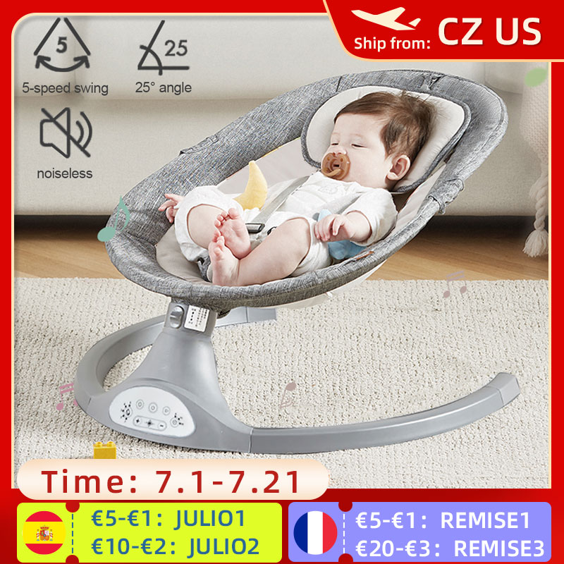 Baby Rocking Chairs Baby Swing for Children Chaise Longue for Baby Bouncer Baby Cradle with bluetooth Music Remote Control