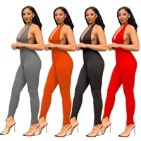 free shipping backless jumpsuit medium waist solid sexy jumpsuit for women limited womens jumpsuit