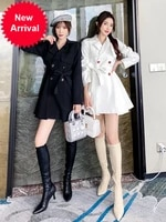 trench coat 2020 new mid length autumn korean style lace up waist slimming temperament skirt short small coat