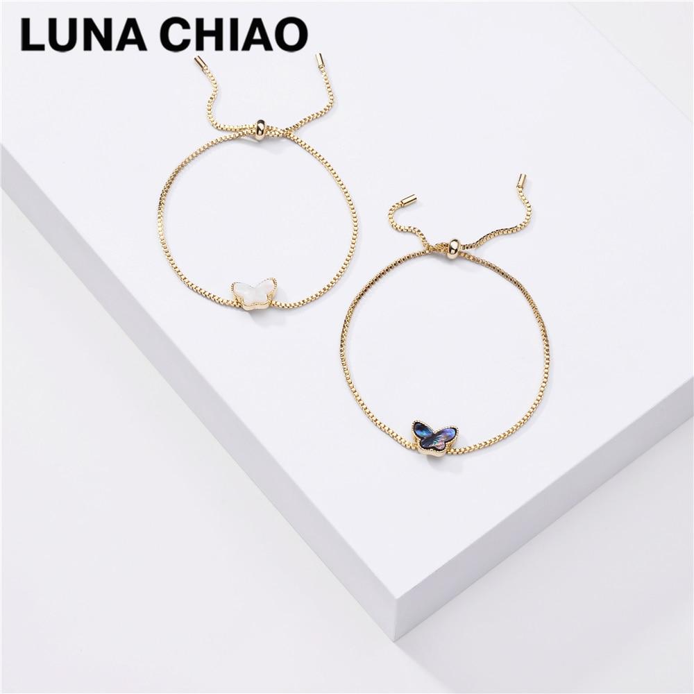 Luna chiao 2020 verão delicado puxar tie chain link pulseira-concha borboleta moda pulseiras para mulher
