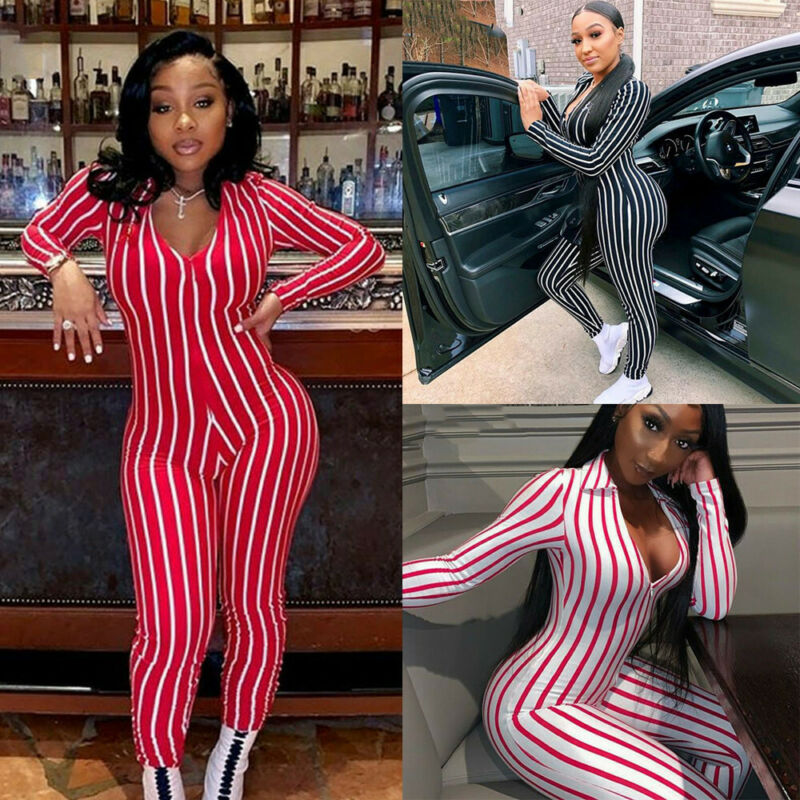 Hot Deep V Neck Striped Bodysuit Leotard Bodycon Bandage Women Long Sleeve Casual Rompers Overalls Long Pants Zipper Jumpsuits