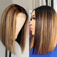 brazilian straight highlight wig ombre brown honey blonde short bob wig lace front wig colored highlight honey blonde straight