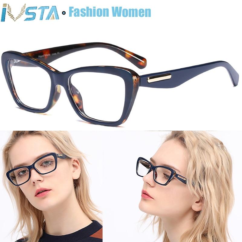 IVSTA Flower Fashion Lady Glasses Frame Women Cat Eye Myopia Eyewear Prescription Eyeglasses Square Vintage Retro 06266