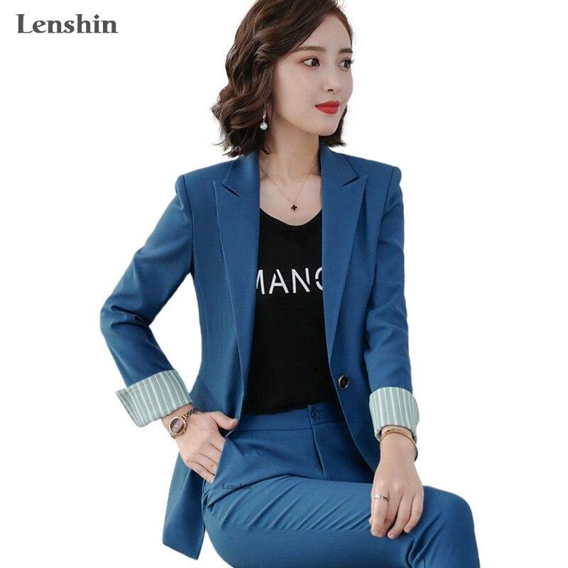 Conjunto de 2 piezas de moda Lenshin, pantalón Formal con contraste, Blazer, traje de oficina para mujer, uniforme OL, diseños, chaqueta y pantalón de negocios para mujer