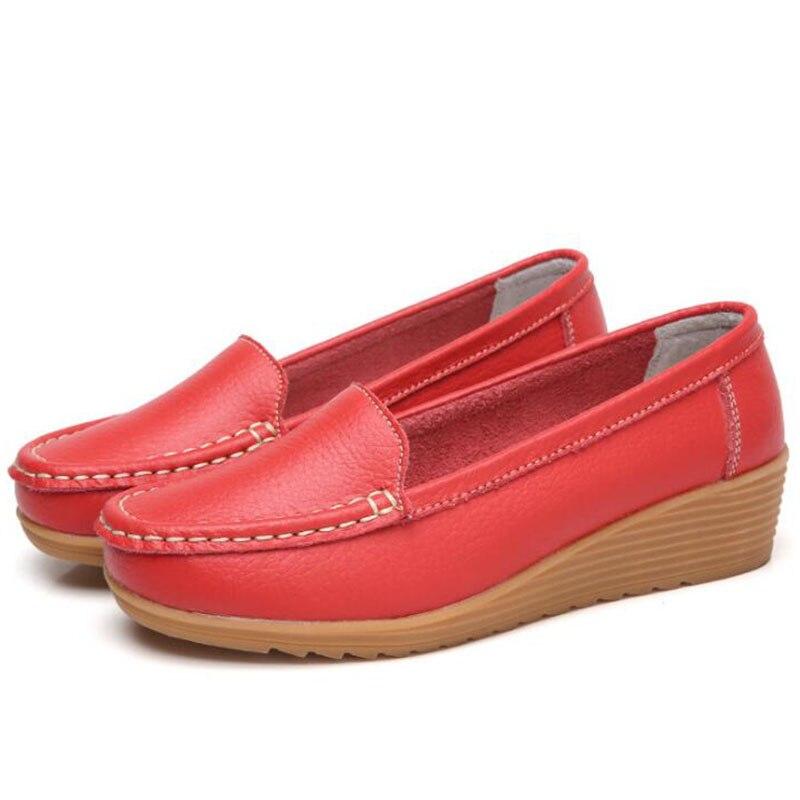 حذاء موكاسين نسائي من الجلد الطبيعي ويدج ناعم ، حذاء مريح ، حذاء موكاسين مقاس كبير 41
