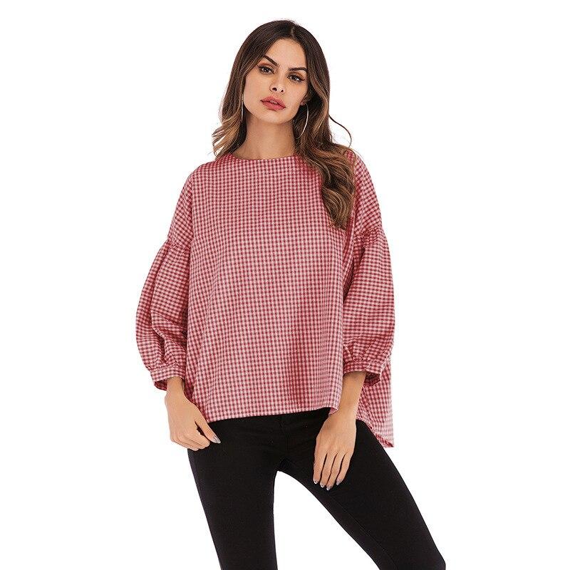 Lybofly cuello redondo a cuadros mujeres Pullover camisetas Tops Tee Casual mujer ropa suéter tejido camisa suelta camisa de manga larga mujeres