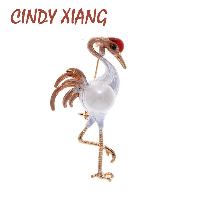 CINDY XIANG 2 colores disponibles esmalte rojo-coronado crane broche diseño broches de pájaro para mujeres Animal Pin de alta calidad nuevo 2020