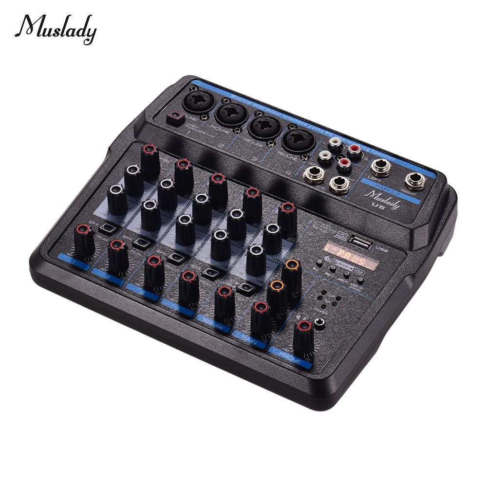 Mini mezclador Musical Muslady U6, 6 canales, mezcladores de Audio BT, consola de mezcla USB con tarjeta de sonido