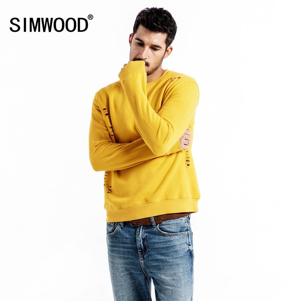 SIMWOOD 2020 frühling Neue Hoodies Männer Mode Ripped Hip Hop Sweatshirts Streetwear Stickerei Brief Loch Hoodie 190044