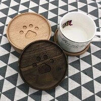 trendy anti scalding pads bear coasters cute practical cup holders japanese style geometric wooden coasters heat insulation pads