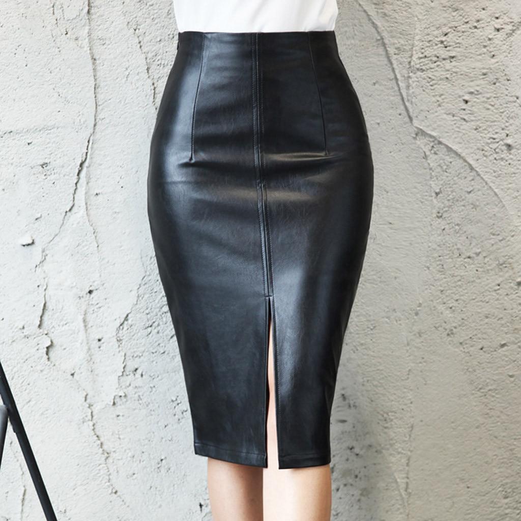 Black office Skirt Women Plus Size fake PU Pencil Skirts Womens Skirt With High Waist Office Leather Skirt Knee Length Female 91