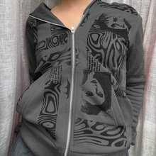 Женские свитшоты Y2K в эстетике готика гранж на молнии с длинным рукавом Толстовка пальто осень зима винтажная одежда Харадзюку толстовки