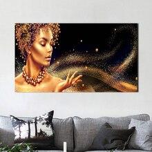 Póster e impresiones para decoración del hogar moderna de mujer desnuda africana negra y dorada para sala de estar cuadros de pared pintura de lienzo
