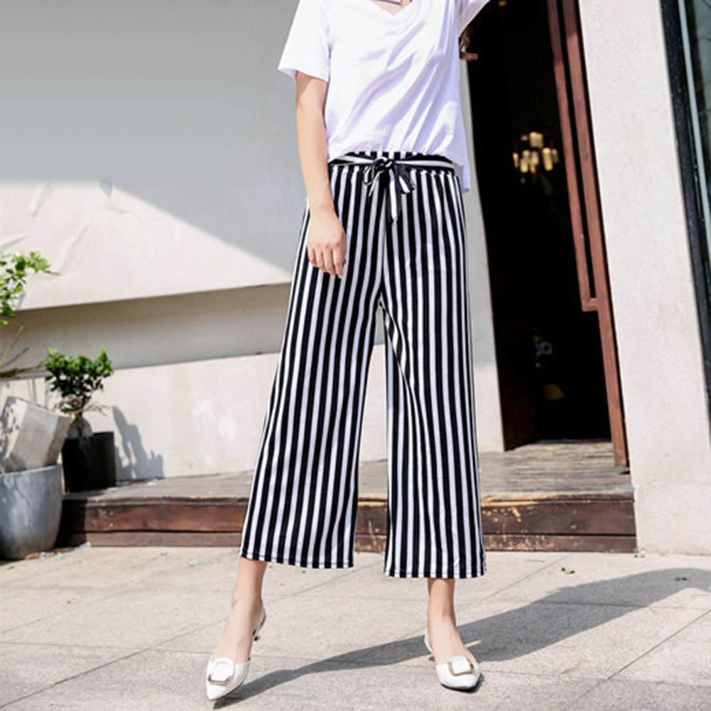 Fashion Women Stripe Loose Straight Wide Leg Drawstring Pants Ninth Trousers Women Loose Straight Wide Pants Ninth Trousers Pant