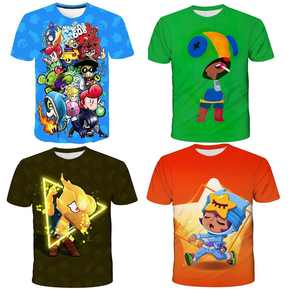 Модная новинка 2020 года; Детская футболка с 3D-принтом в виде игры «бэтлинг» и «Звездный Леон»; Подарок для ребенка; Футболка с короткими рукавами для мальчика; Детская футболка со звездой