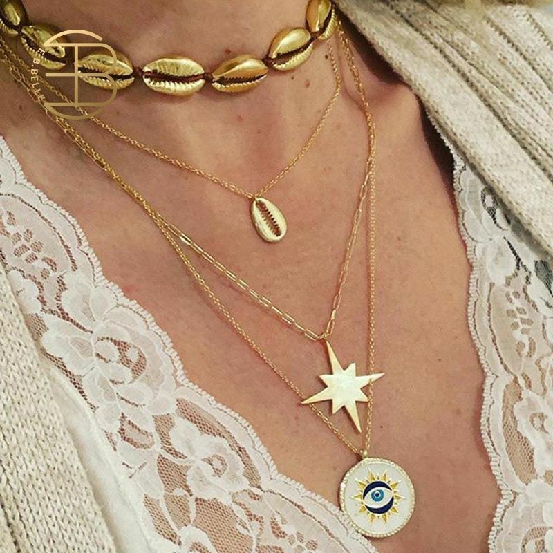 2020 neue Strand Shell Stern Emaille Evil Eye Anhänger Halsketten Für Frauen Gold Abalone Shell Choker Halskette Layered Halskette