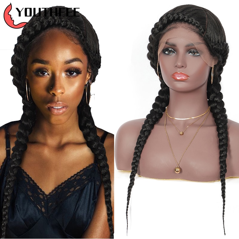 Youthfee lace frontal synthetic cornrow wigs for women dutch braid wig with baby hair knotted box braided lace front wigs