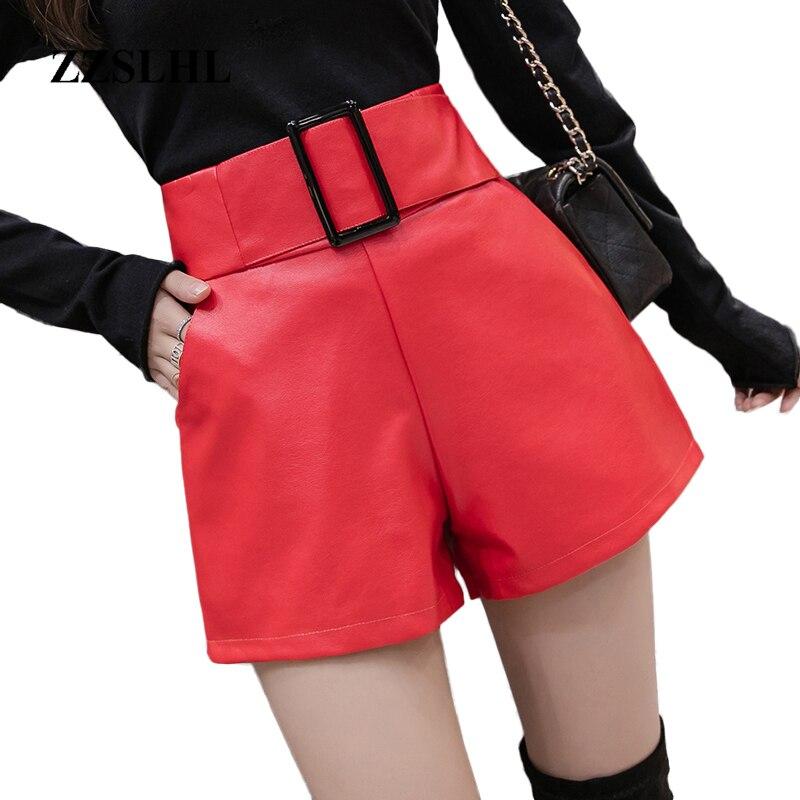 Koreanische PU Faux Leder Shorts Frauen Herbst Winter Hohe Taille Breite Bein Kurze damen Plus Größe Sexy Schwarz Belted Kurze femme